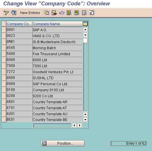 Create a Company Code