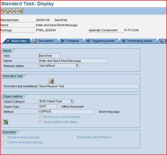 Standard Task Display