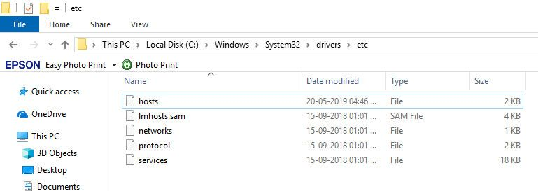 Location of hosts file in Windows 10