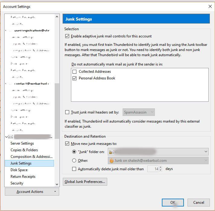 Junk Folder Settings in Thunderbird